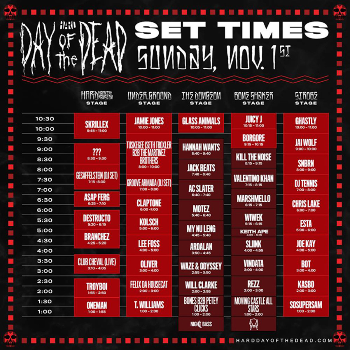 Hard Day of the Dead Set Times Day 2