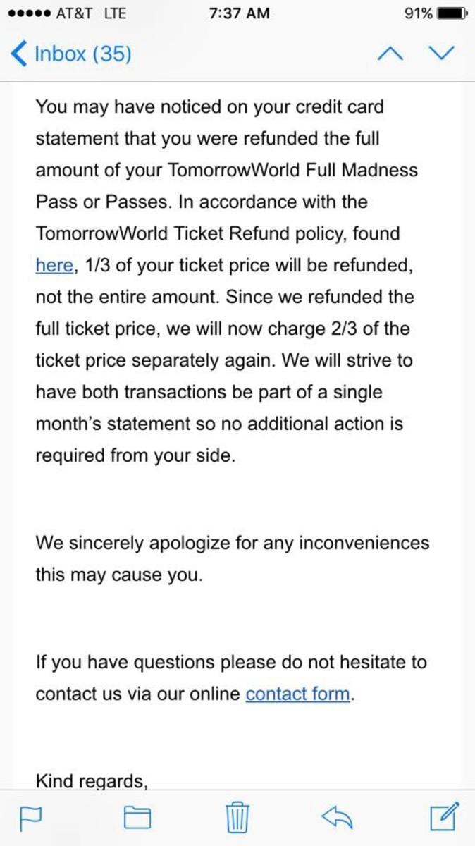 TomorrowWorld mistake refund