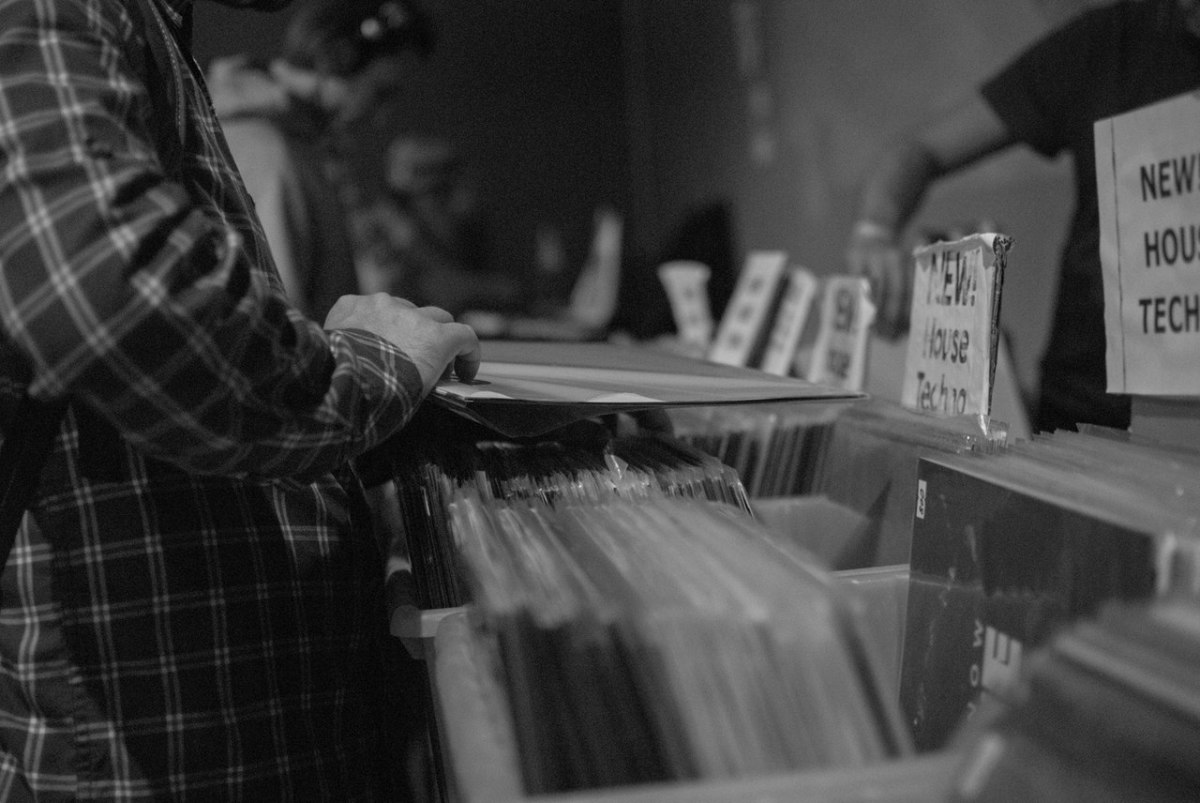 Browsing the vinyl at Wax Ninja