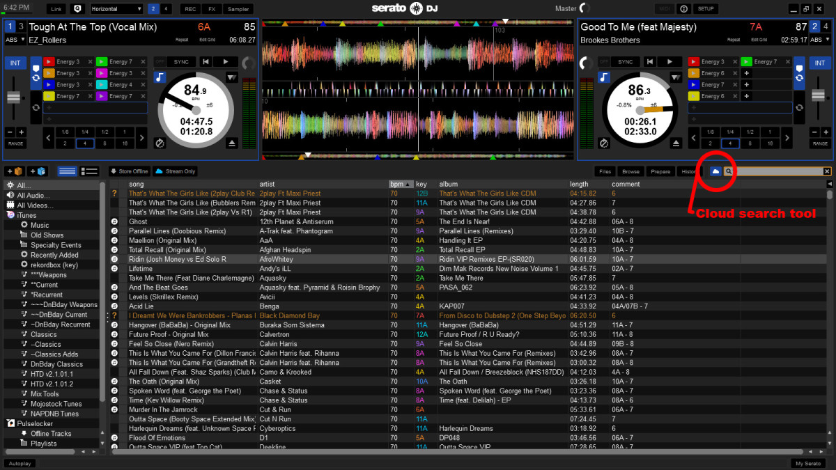 Serato DJ with Pulselocker cloud search tool enabled