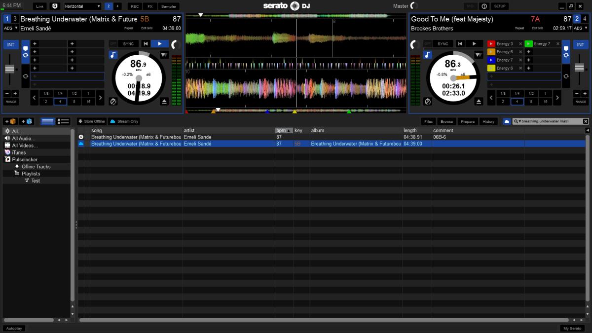 Serato DJ with Pulselocker cloud search results shown.