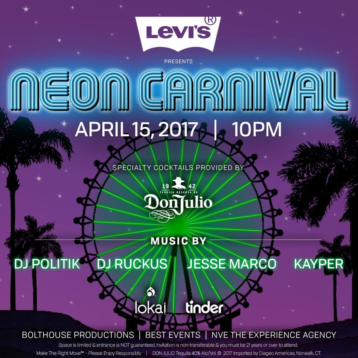 2017 Neon Carnival official Coachella invite flyer