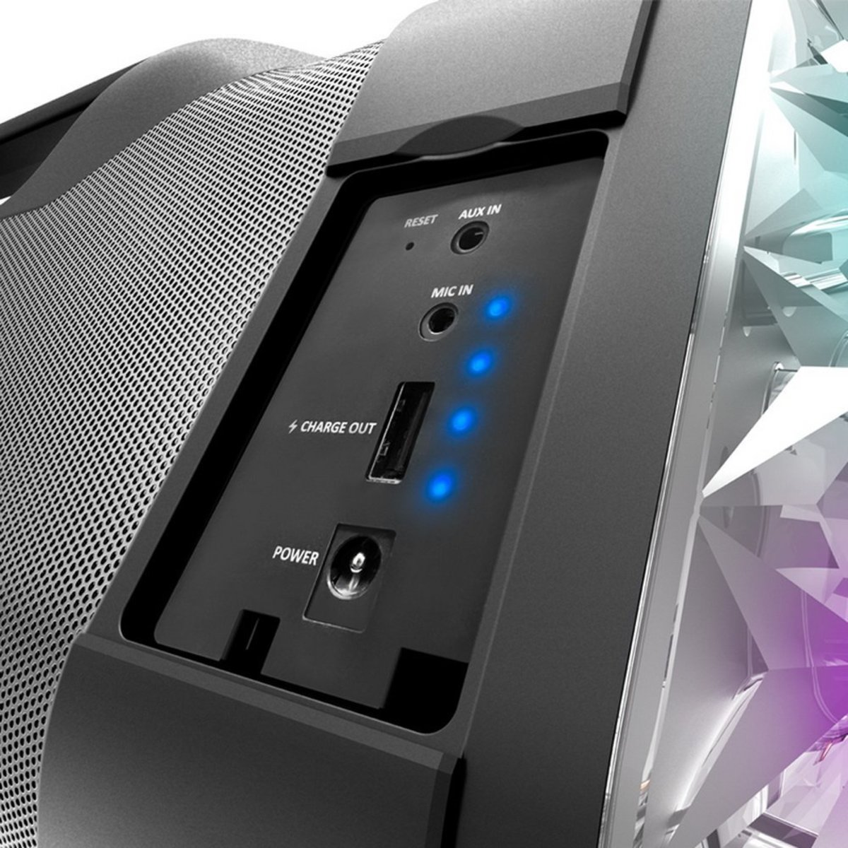 Don't want to go wireless, no problem. Want to plug in your Mic, please don't, but you can. Want to charge your phone, ipad, whatever... Ravebox has you covered.