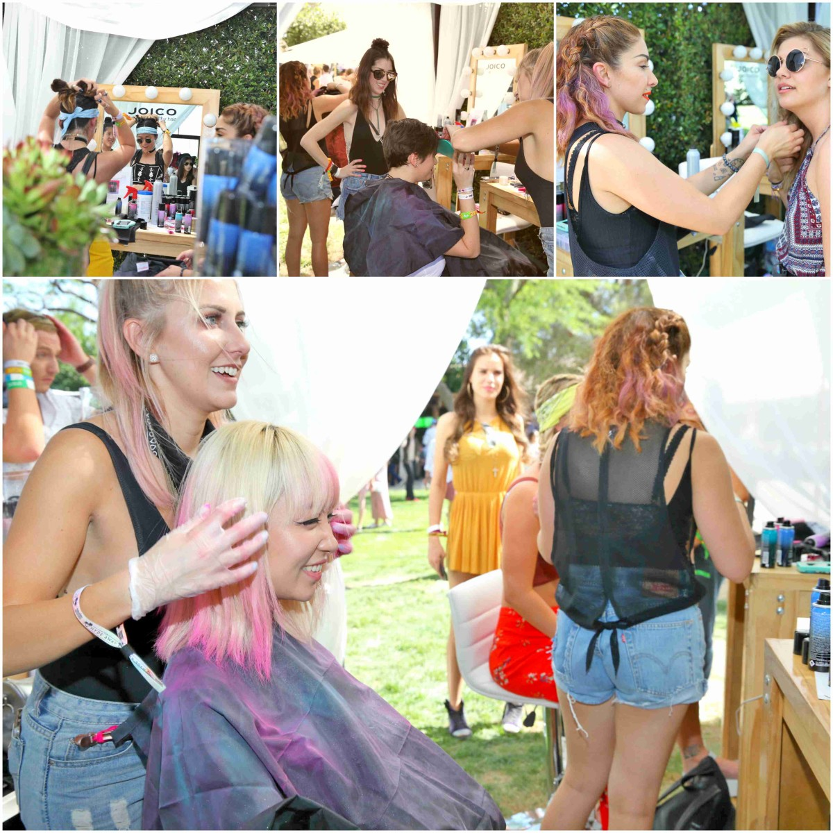 pretty in pink at the Joico Festival Hair tent, JinJoo from DNCE