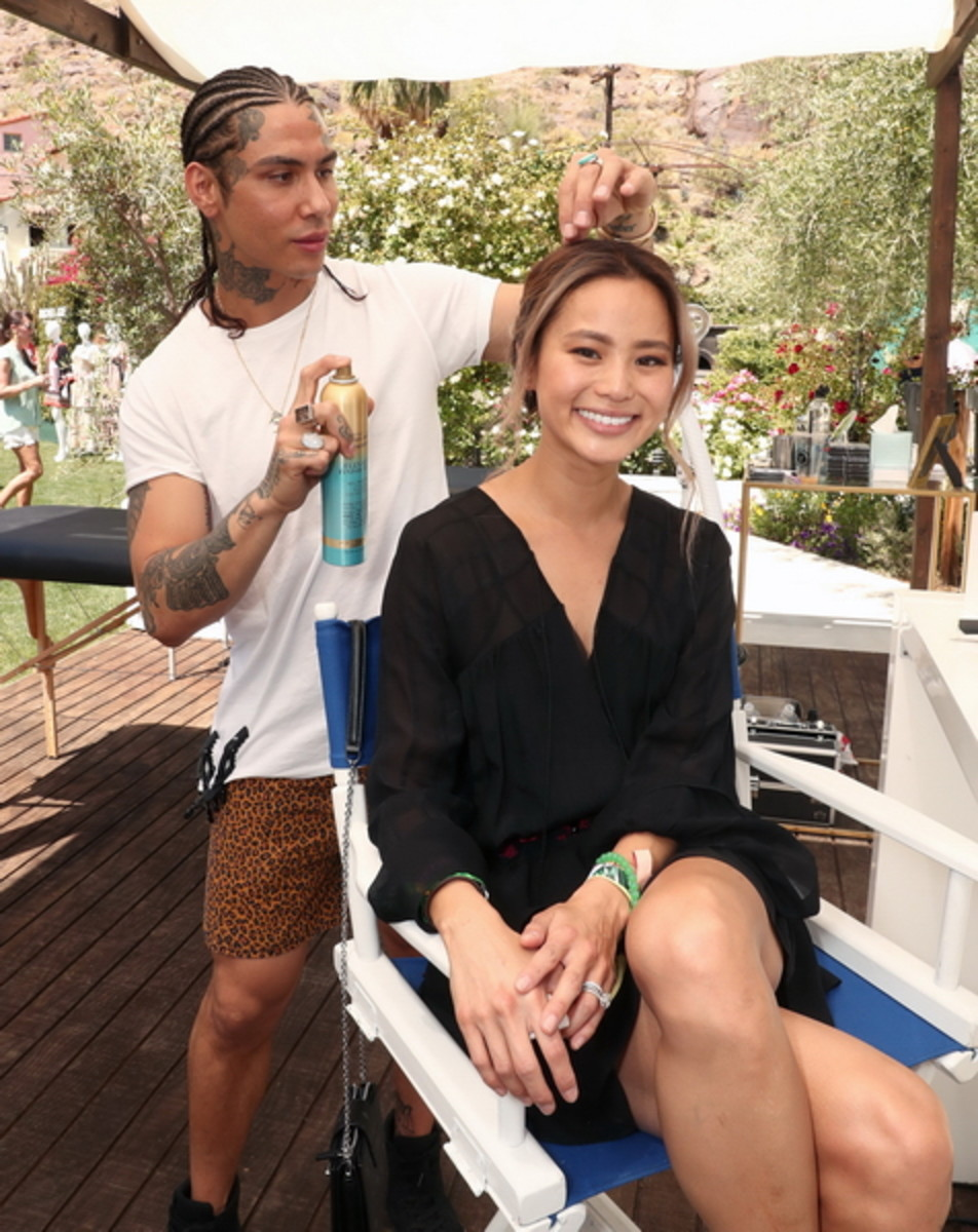 Castillo Bataille, Jamie Chung at the OGX Beauty station