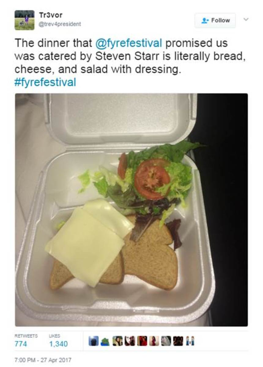 gourmet food at Fyre Festival 2017