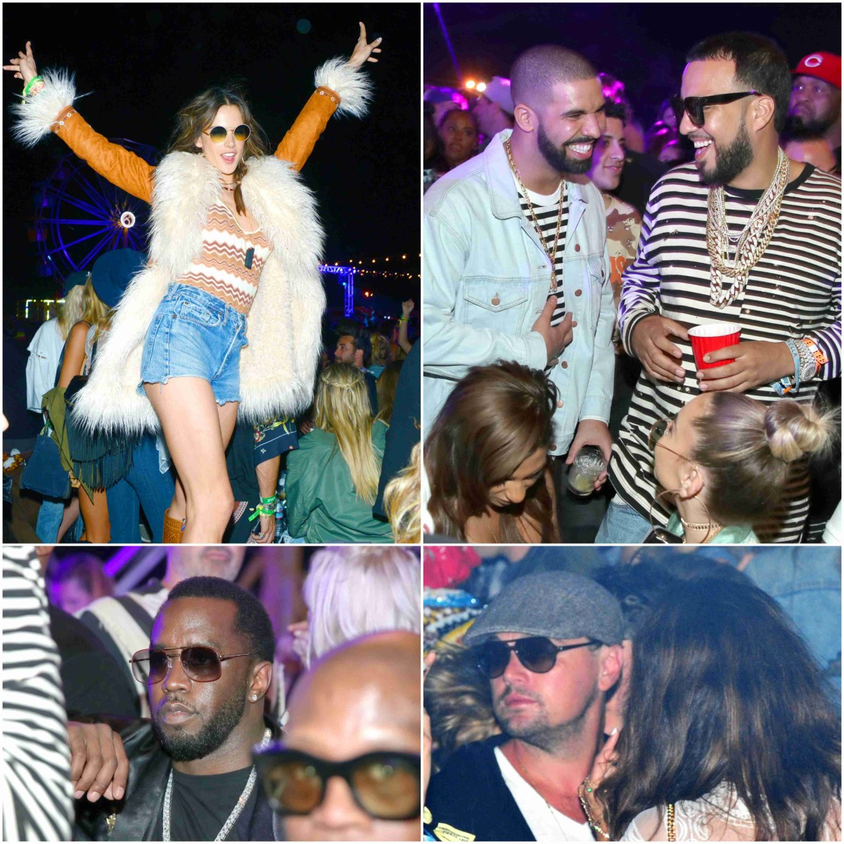 supermodel Alessandra Ambrosio, Drake, French Montana, P-Diddy and Leonardo CHILLIN'