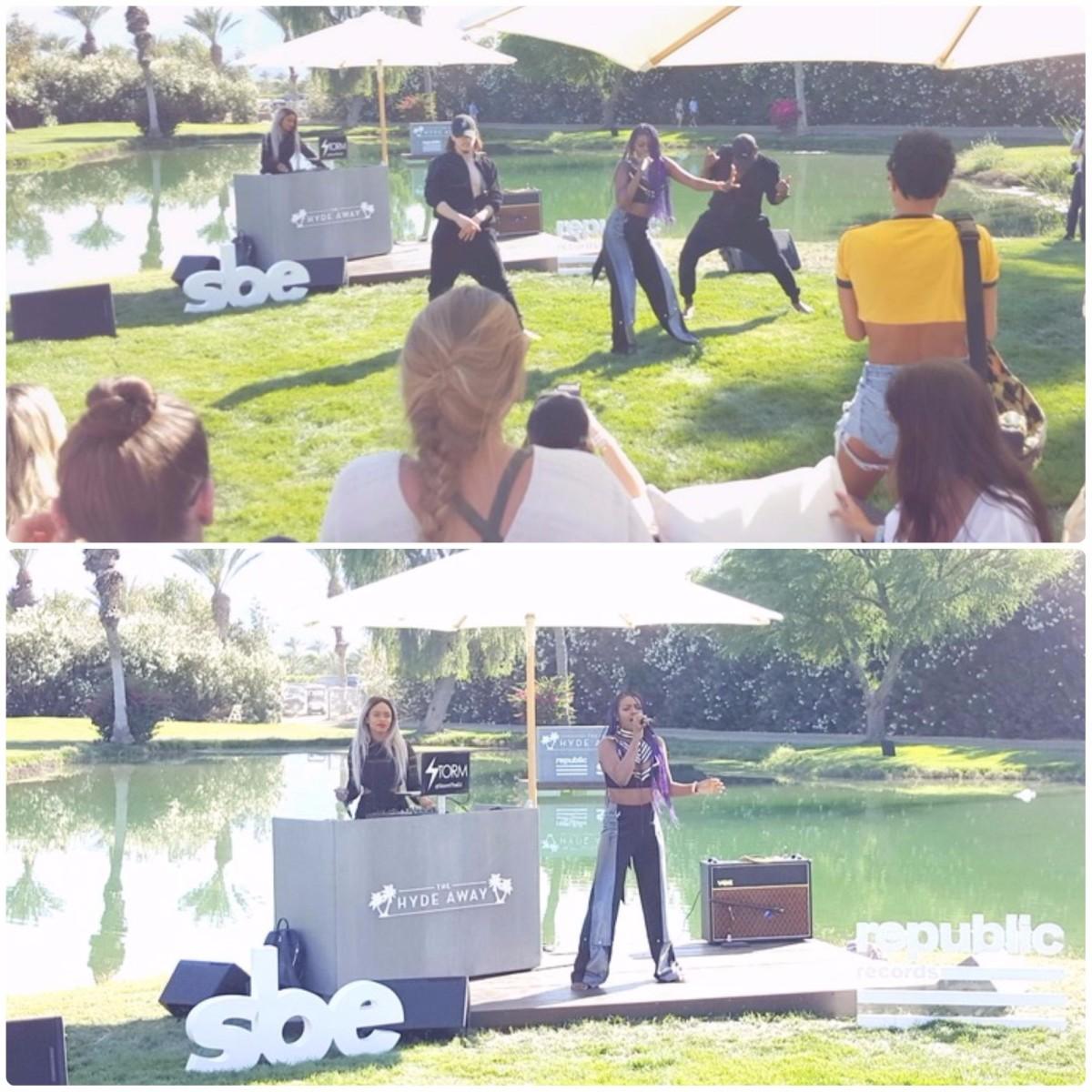 Justine Skye performing at The Hyde Away at Coachella 2017
