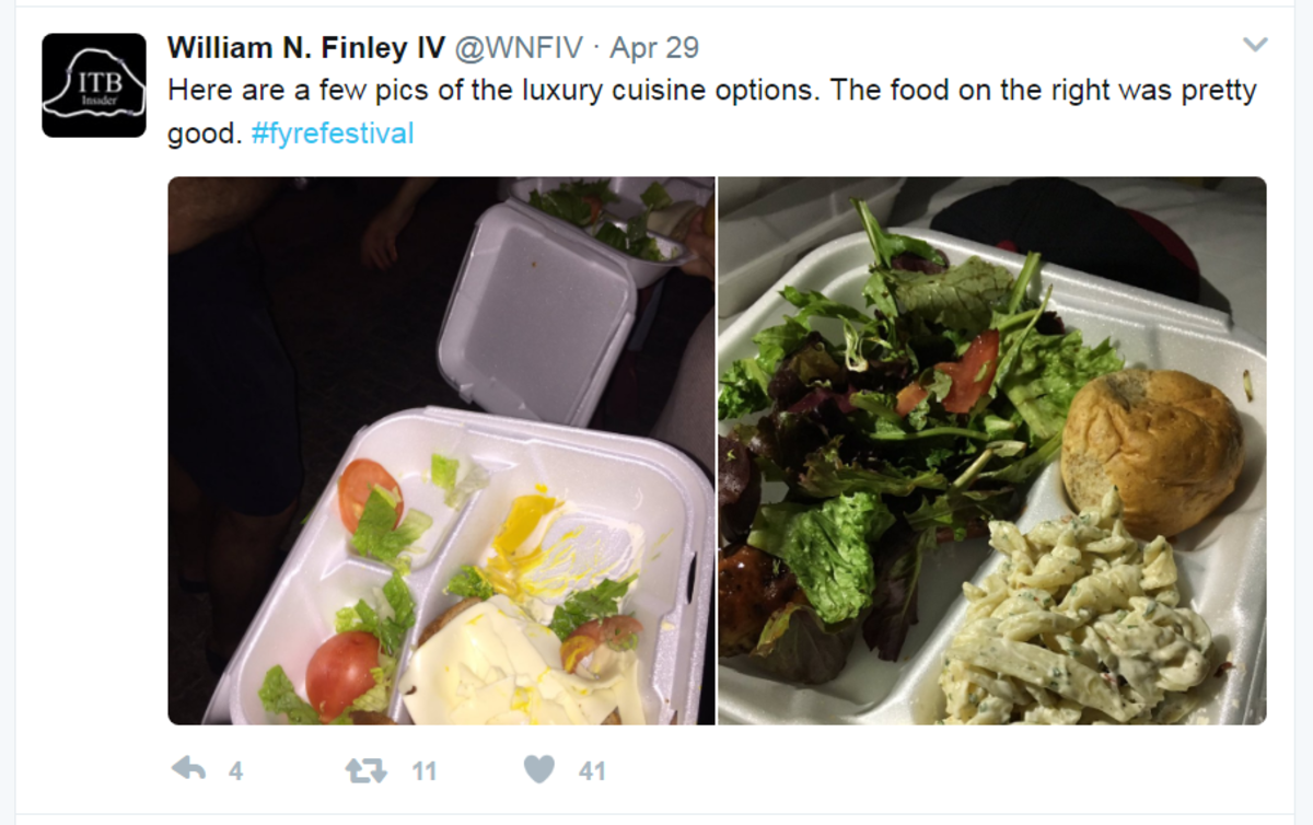 "pasta salad, a roll and mixed greens DOES NOT constitute ""gourmet cuisine"" for a $1,000 ticket."