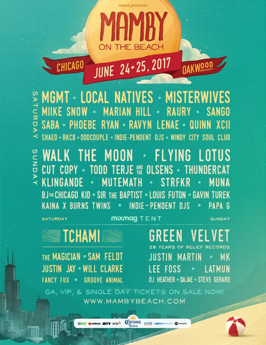 Above: Official Line-up of Mamby on the Beach 2017