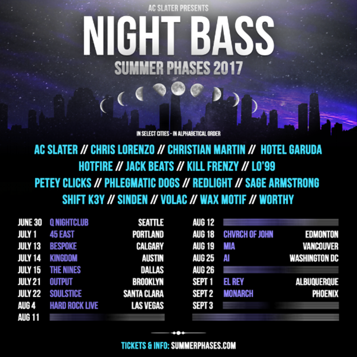 Night Bass Summer Phases 2017 Tour