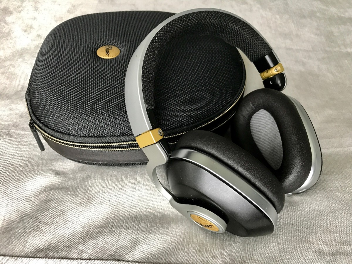Blue Satellite wireless headphones.