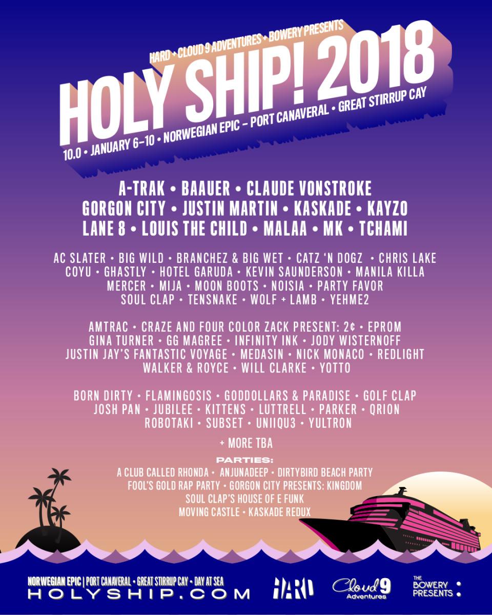 Holy Ship 10 2018 Lineup