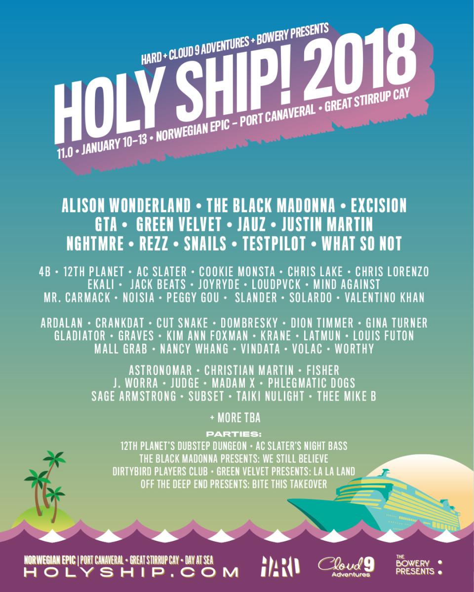 Holy Ship 2018 Lineup 11