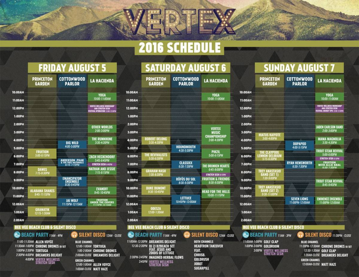 Vertex Festival Buena Vista Lineup Set Times