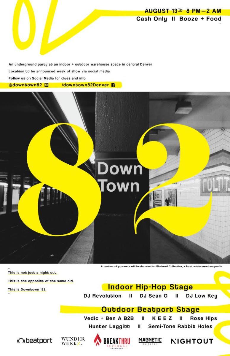 Downtown 82 Underground Warehouse Party Flyer