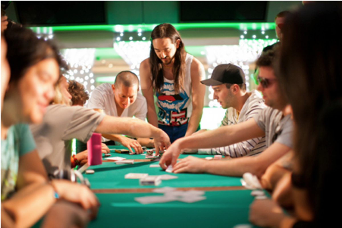 Steve Aoki holding it down at the poker table