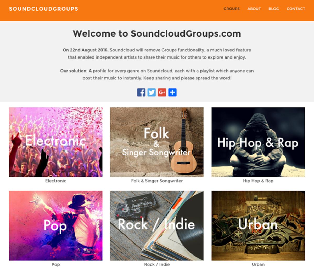 The landing page of SoundCloudGroups.com