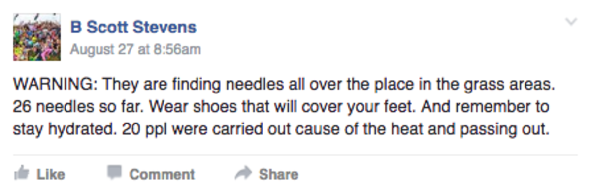 Imagine Festival Needles Facebook Post