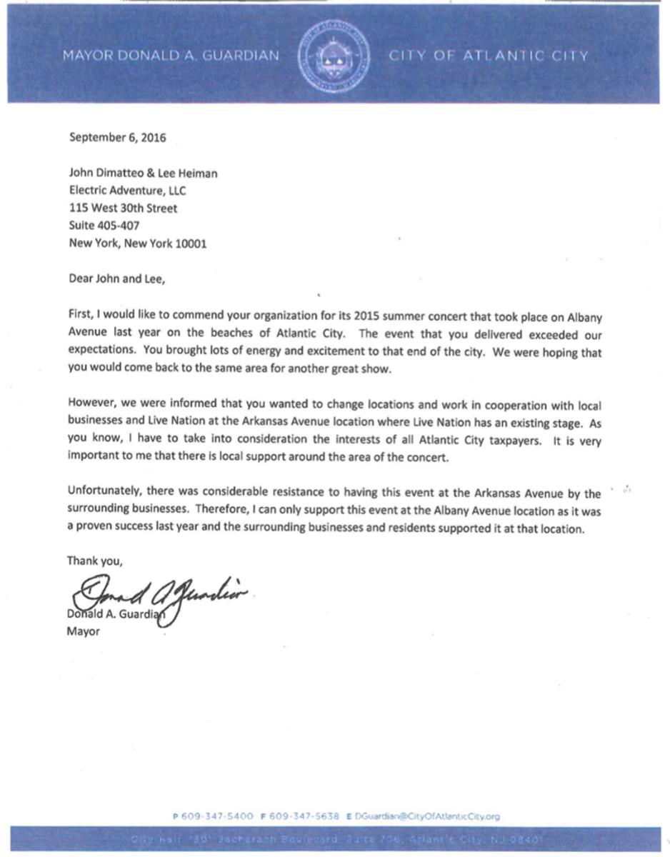 Electric Adventure Atlantic City Mayor Letter Donald Guardian