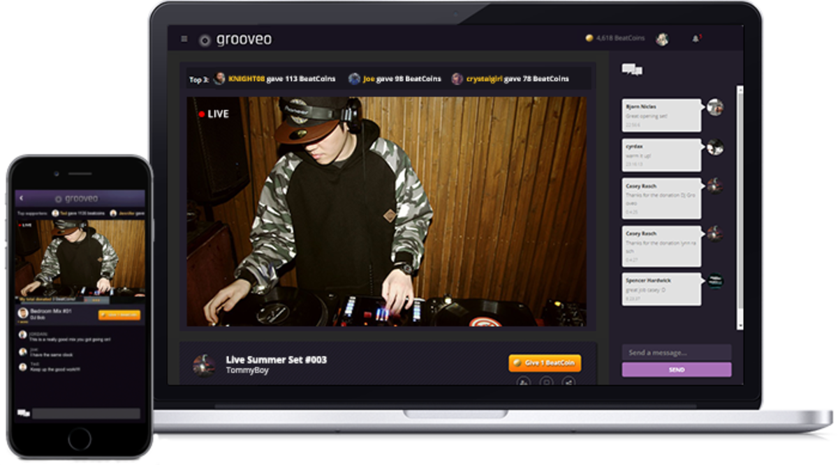 Enjoy Grooveo streaming through the Ap or via www.grooveo.com