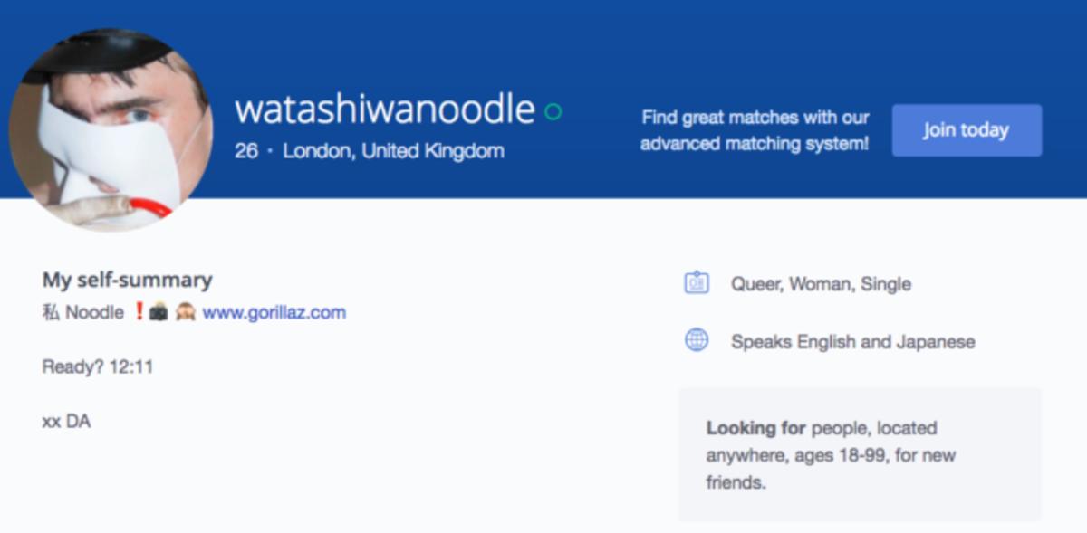 Noodle of the Gorillaz uploads cryptic OKCupid profile