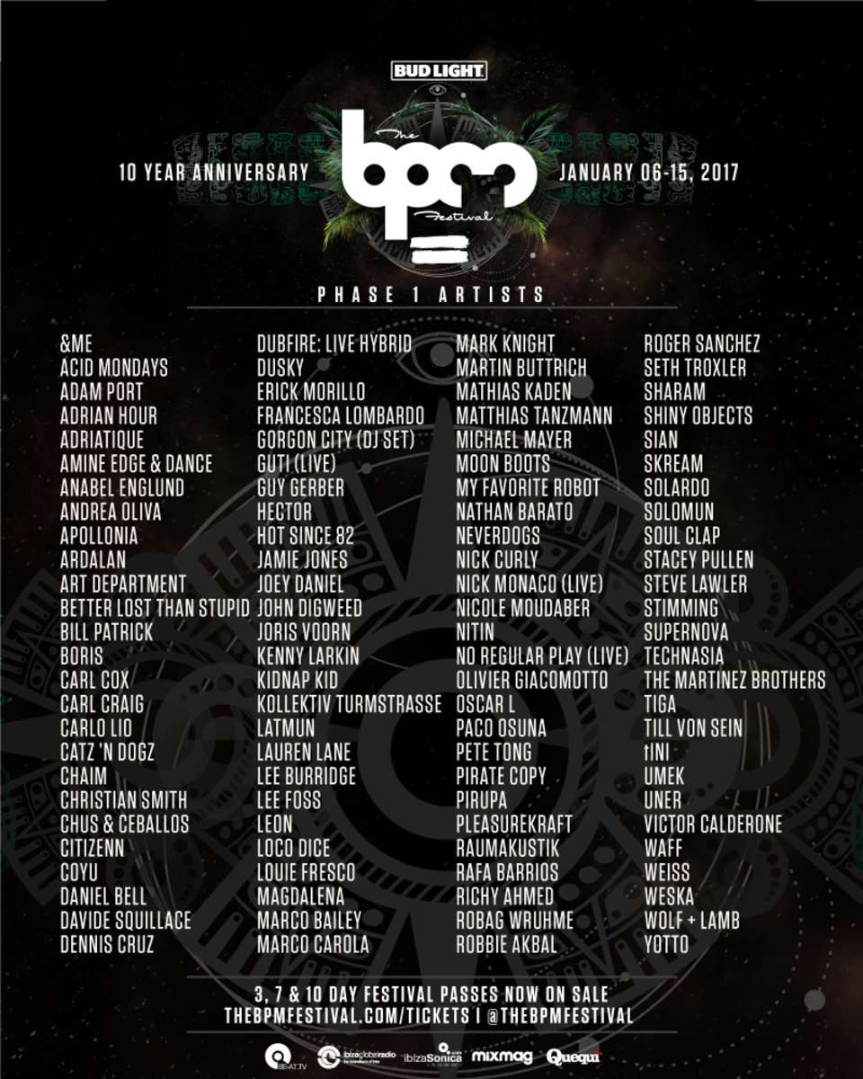 BPM Festival Phase One Lineup Announcement