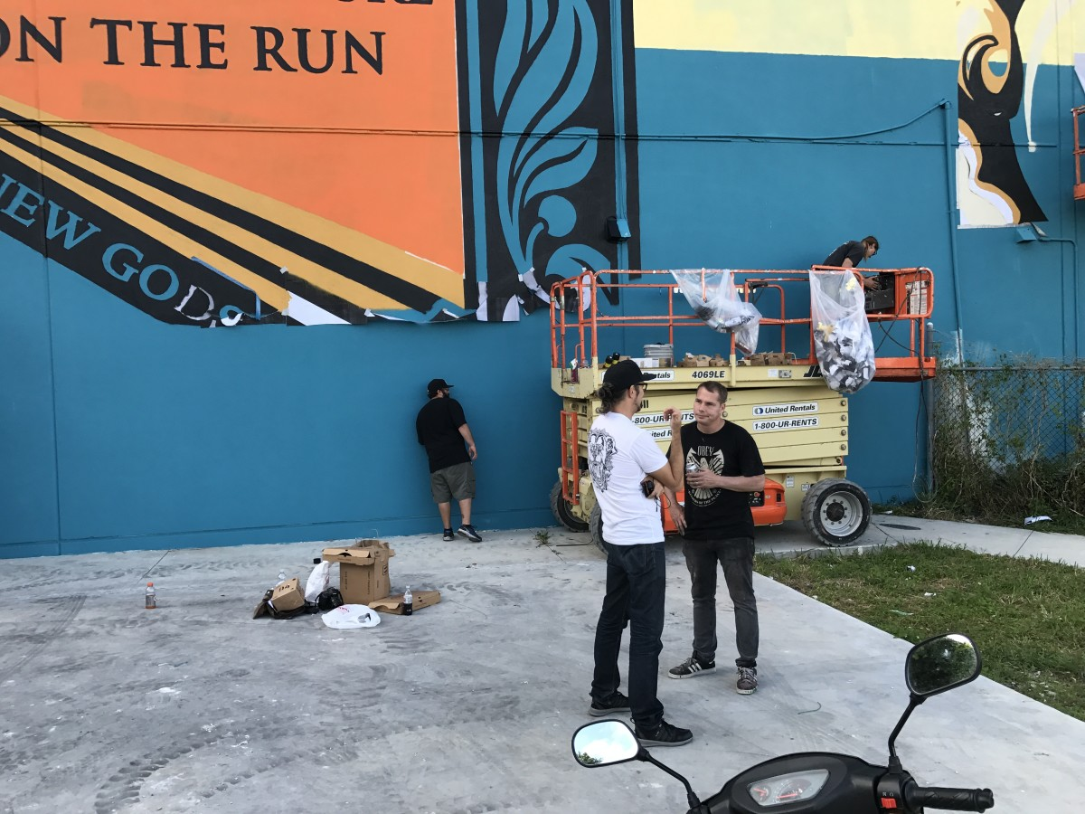 Shepard Fairey finalizing his new mural in Wynwood for the guys at Bushwick Collective