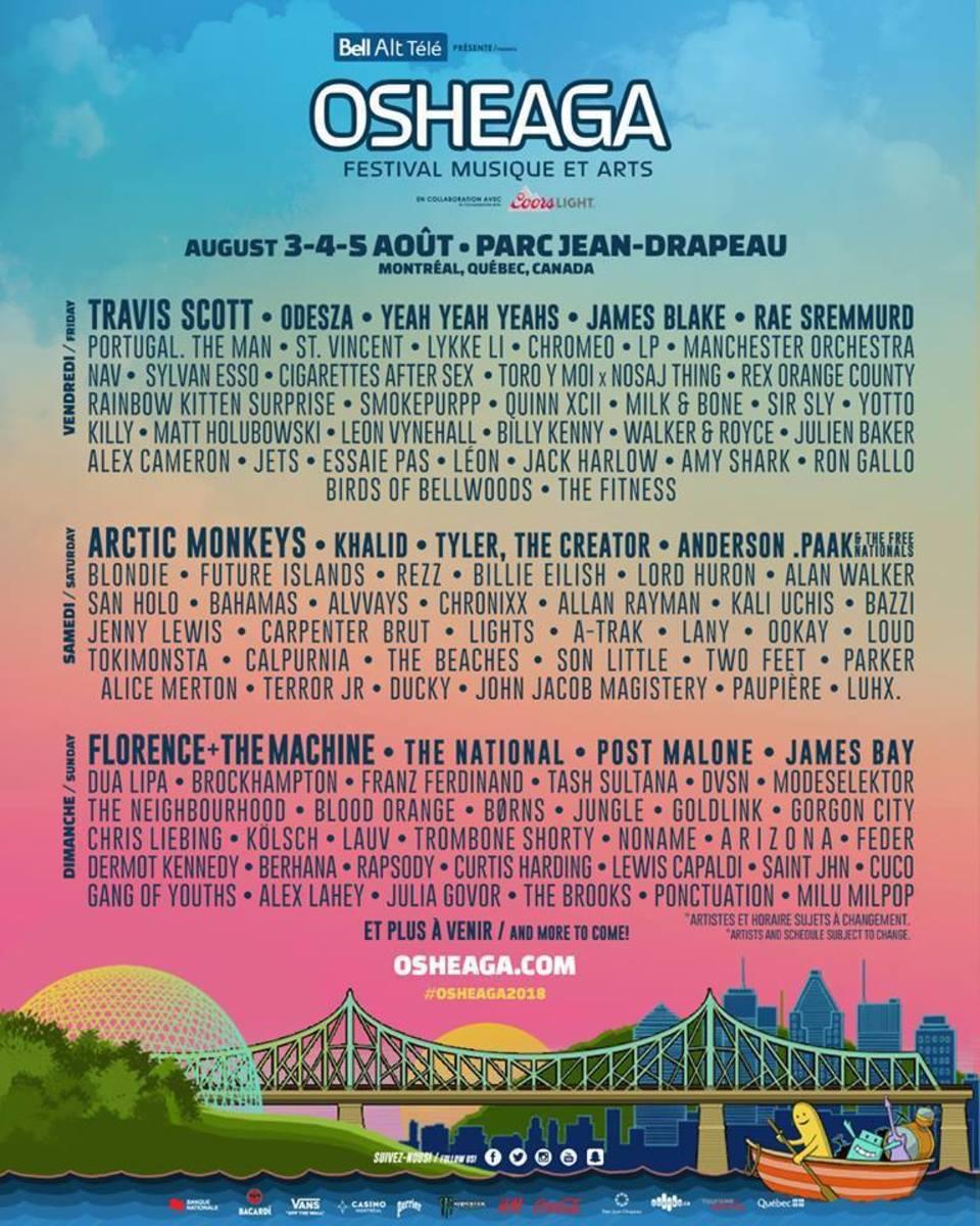 Osheaga Festival 2018 Lineup