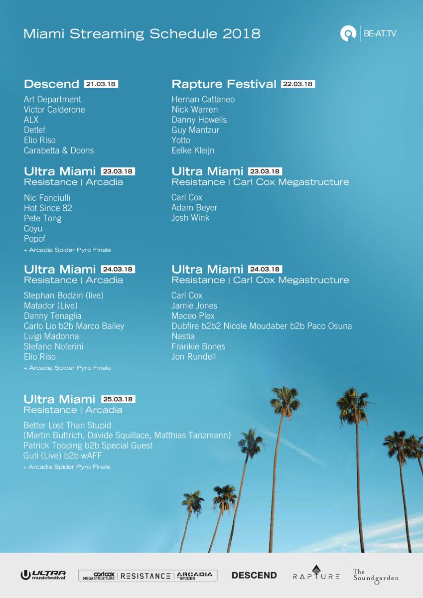 BE-AT.TV 2018 Miami Live Stream Schedule