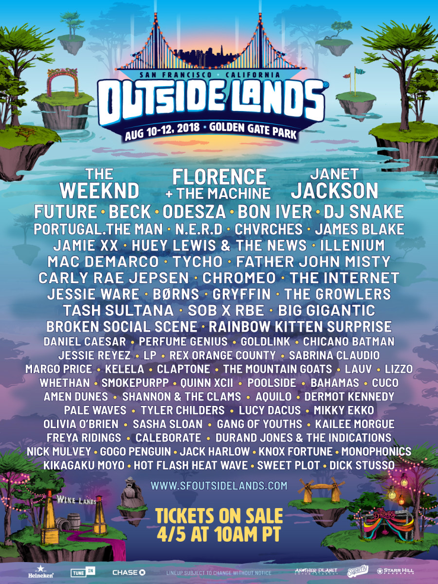 Outside Lands 2018 Lineup Poster