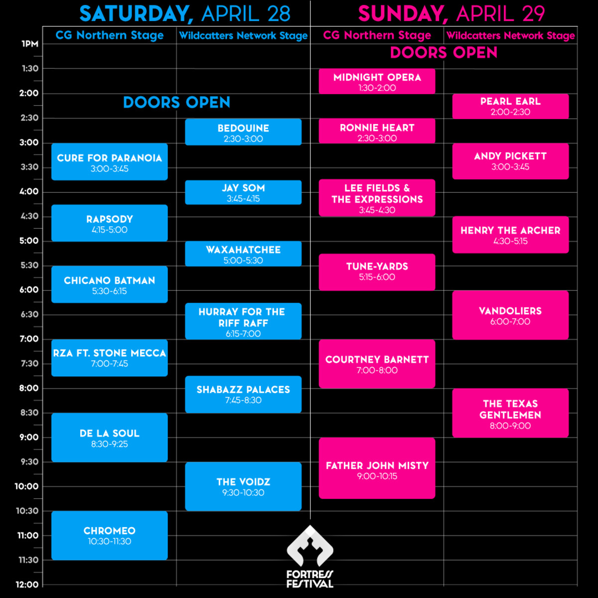 Fortress SET TIMES