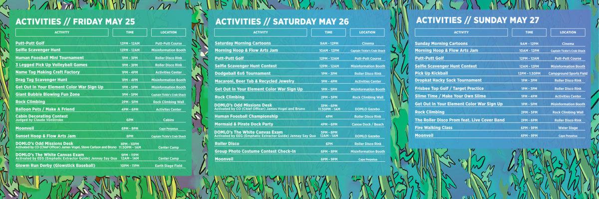 Activities Schedule 2018