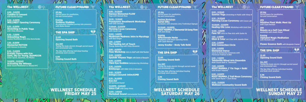 Wellness Tent Schedule 2018