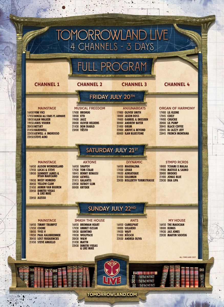 tomorrowland 2018 weekend 1 live stream schedule