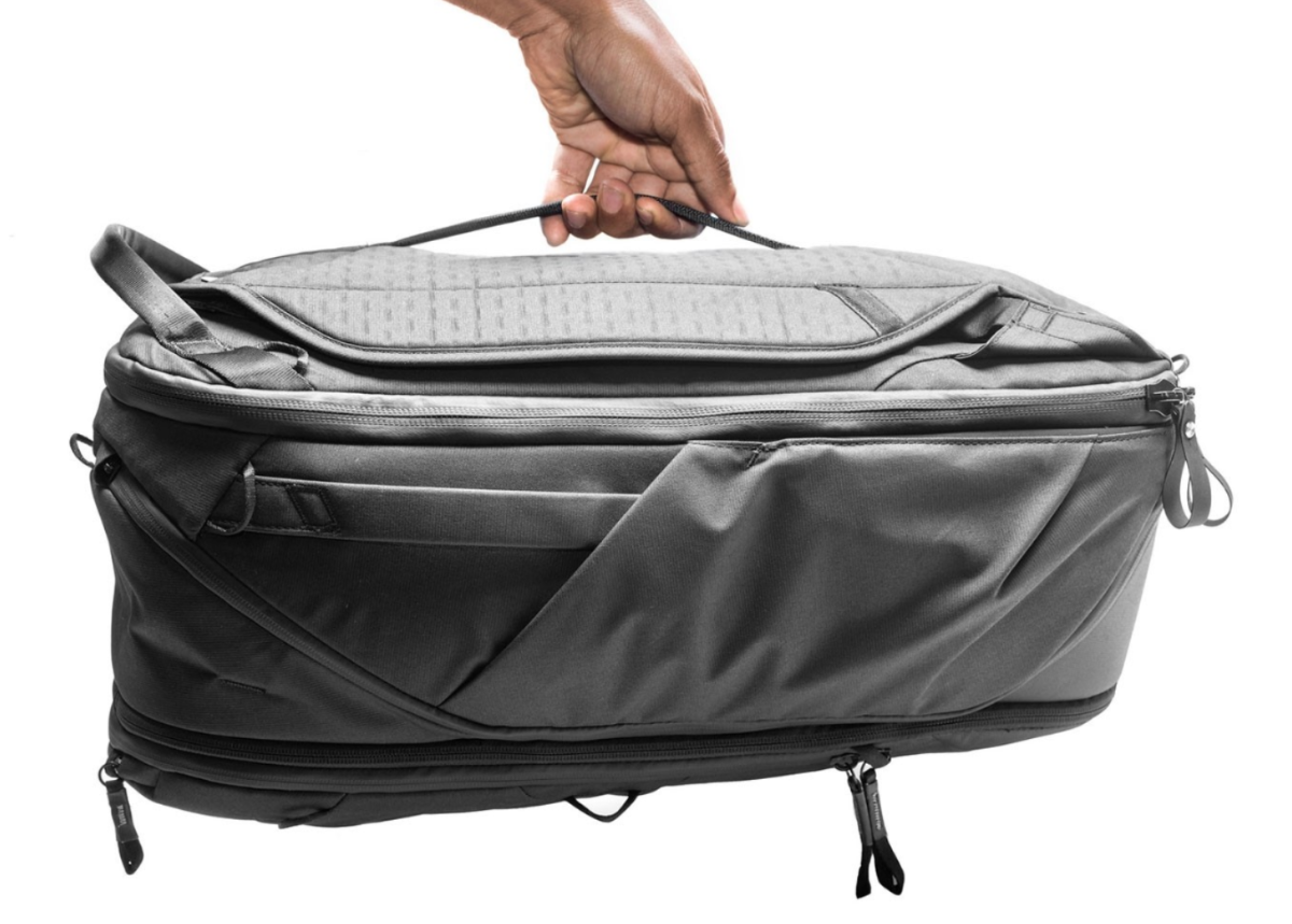 The duffle carry option, notice handles on the side and top as well + great zipper pulls
