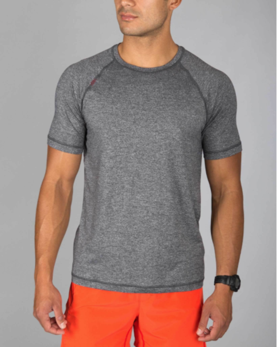 This tee works at the gym and as the perfect layer under sweaters, button downs and hoodies.