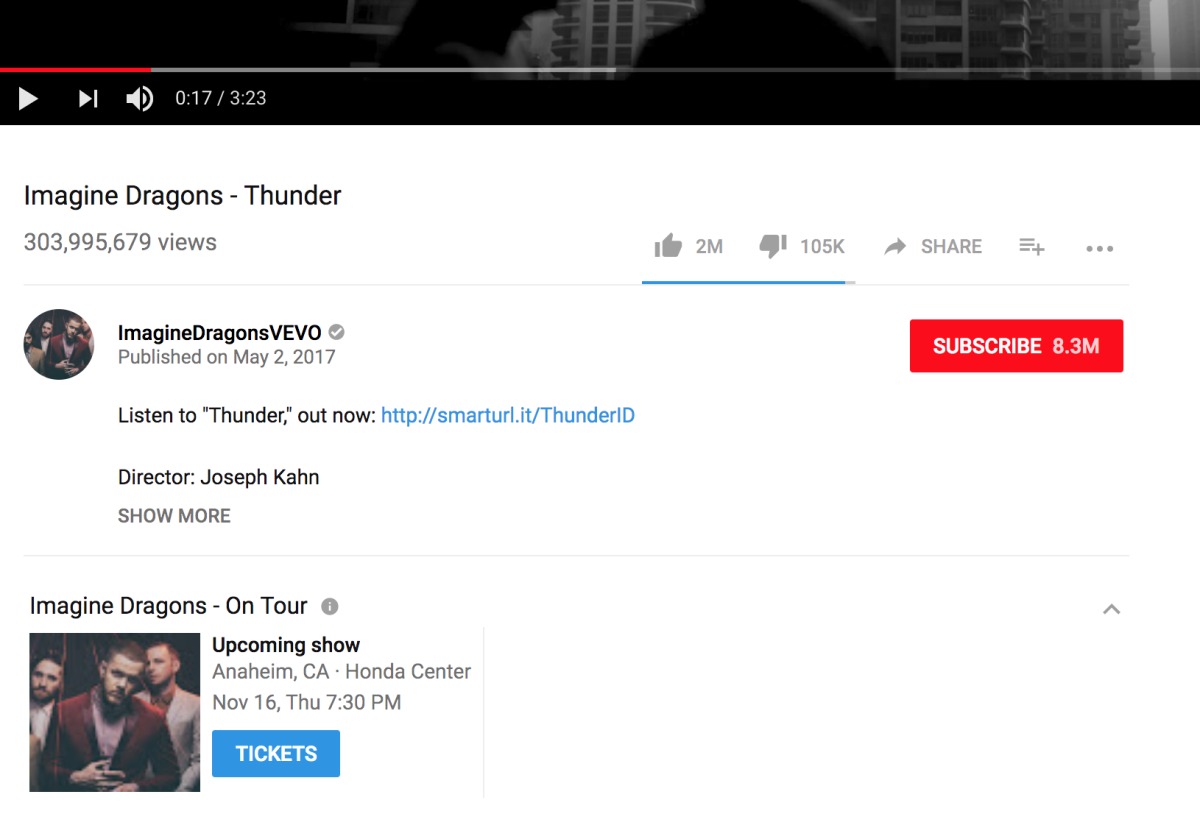 Imagine Dragons YouTube Ticketmaster