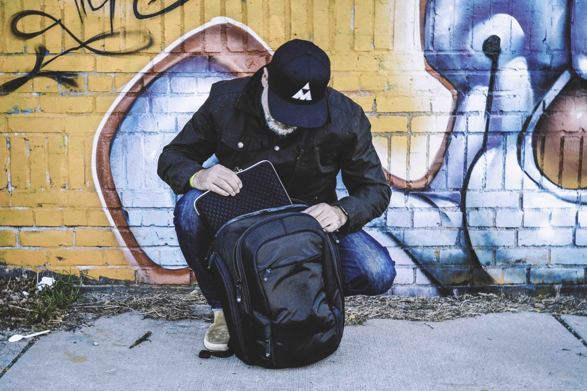 Booq's Shock Pro and Taipan Spacesuit Laptop Case - Photo by Jonas Tempel (hat by MEZZ, shoes by Clae)