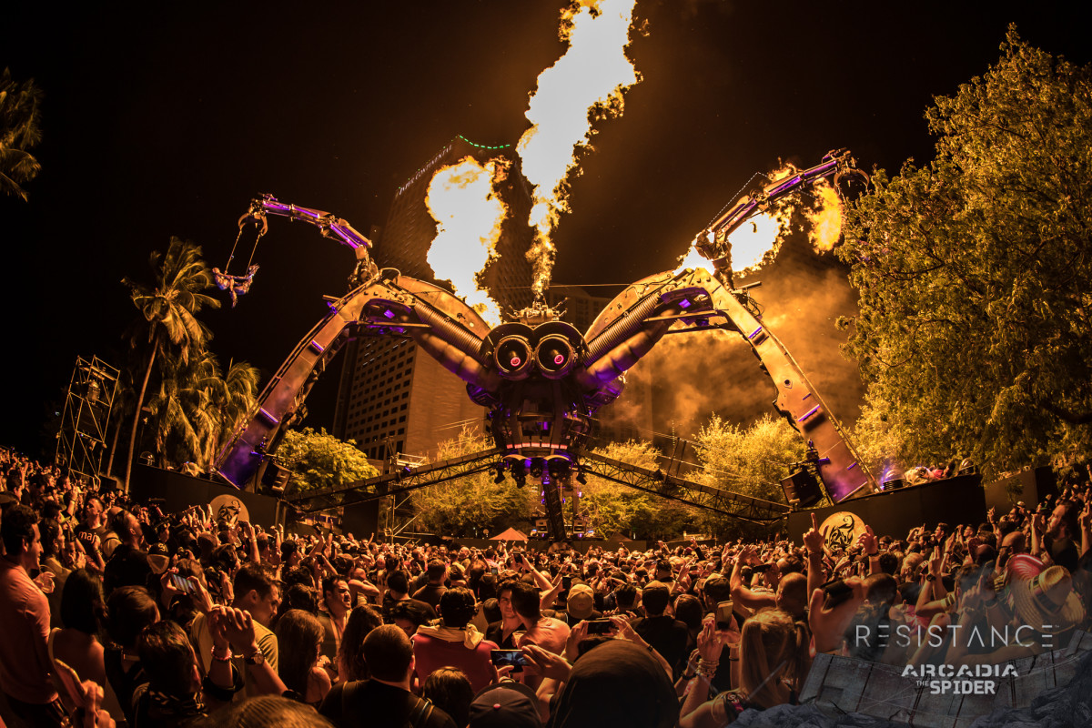 The Spider stage was first seen in England at Glastonburry Festival. It is now a big staple of the Ultra Music Festival in Miami.