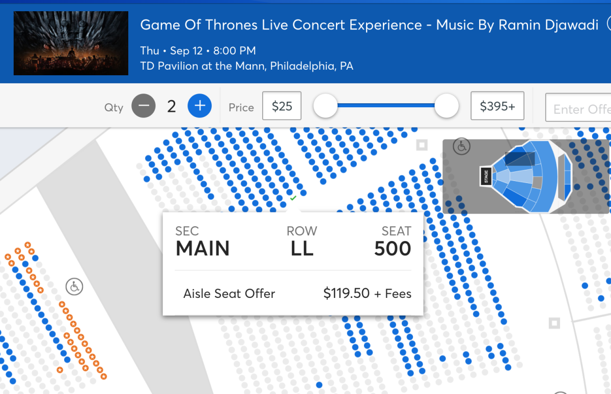 Game Of Thrones Ticket Fees