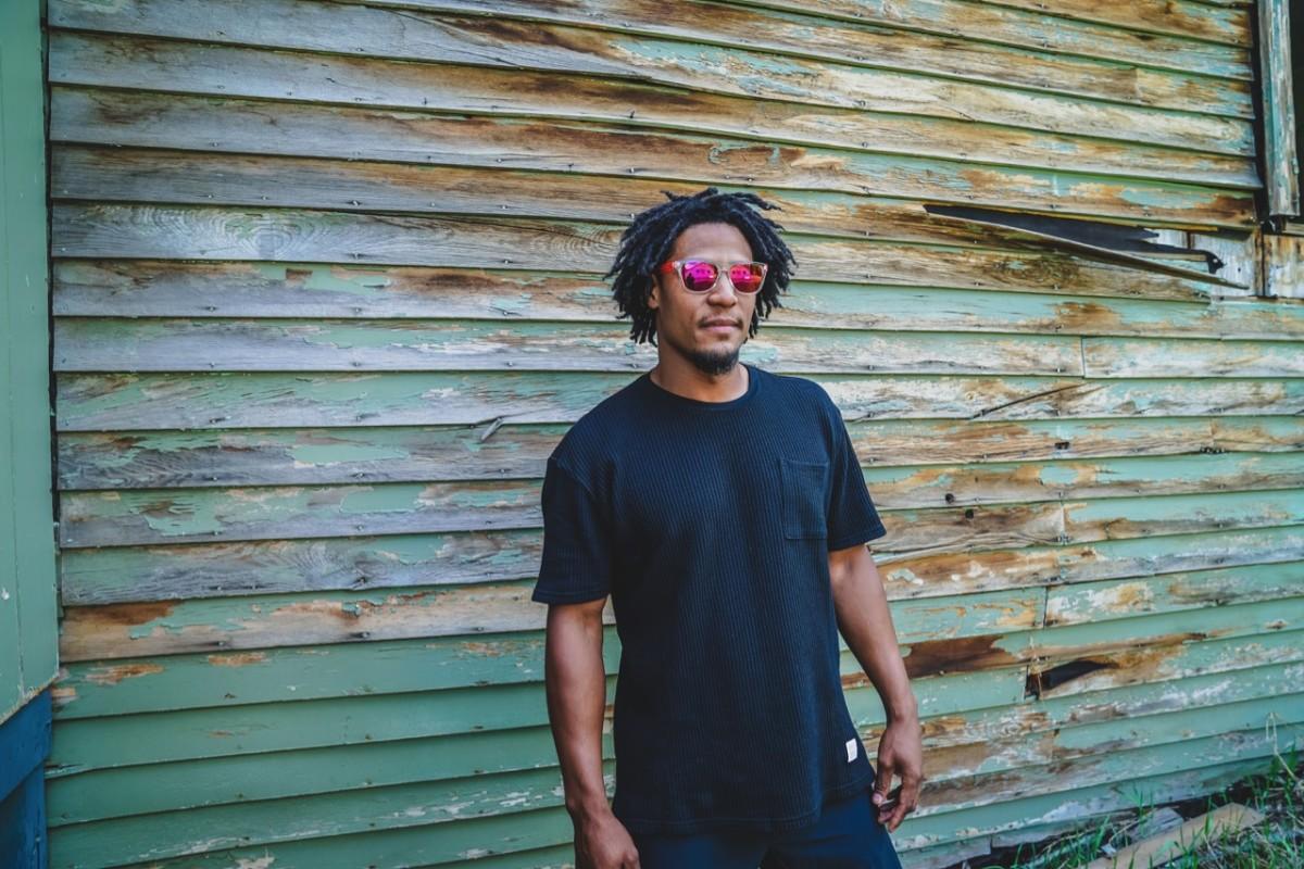Jeff wears Topo Designs Waffle Tee and Sunski Miami Music Week collab sunglasses $48