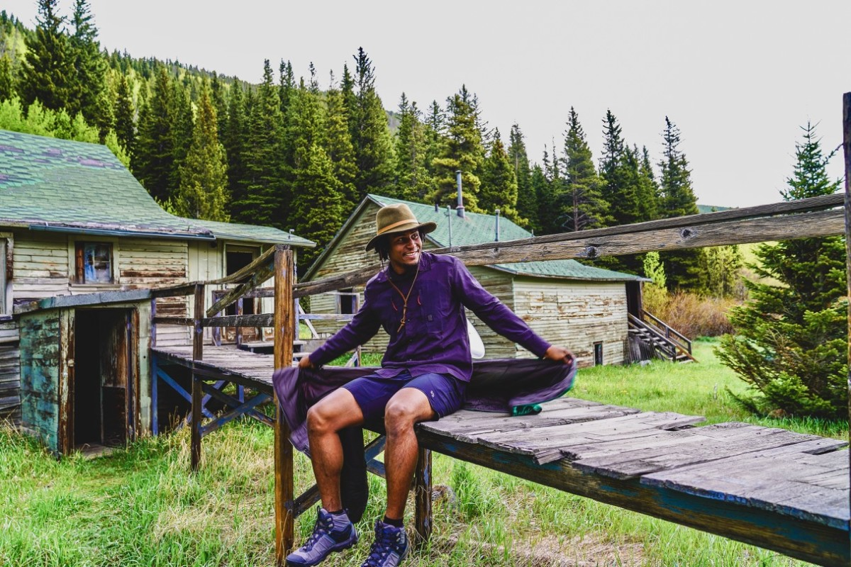 Jeff wears shorts by GoLite ReLite Shorts made from recycled plastic bottles $60 , Topo Designs Tech Shirt and Waffle Tee, Keen boots and keeps warm with a Rumpl original puffy blanket $129