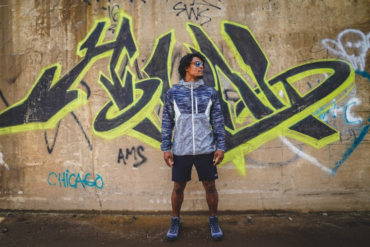 Graffiti in the wild. Jeff wears GoLite ReGreen Windshell made from recycled plastic bottles $100, GoLite shorts, Keen boots and Sunski Makani shades