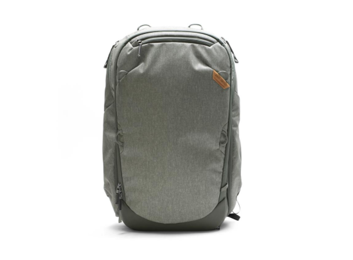 Peak Designs Travel Backpack in Sage Green - our favorite of the two colors.