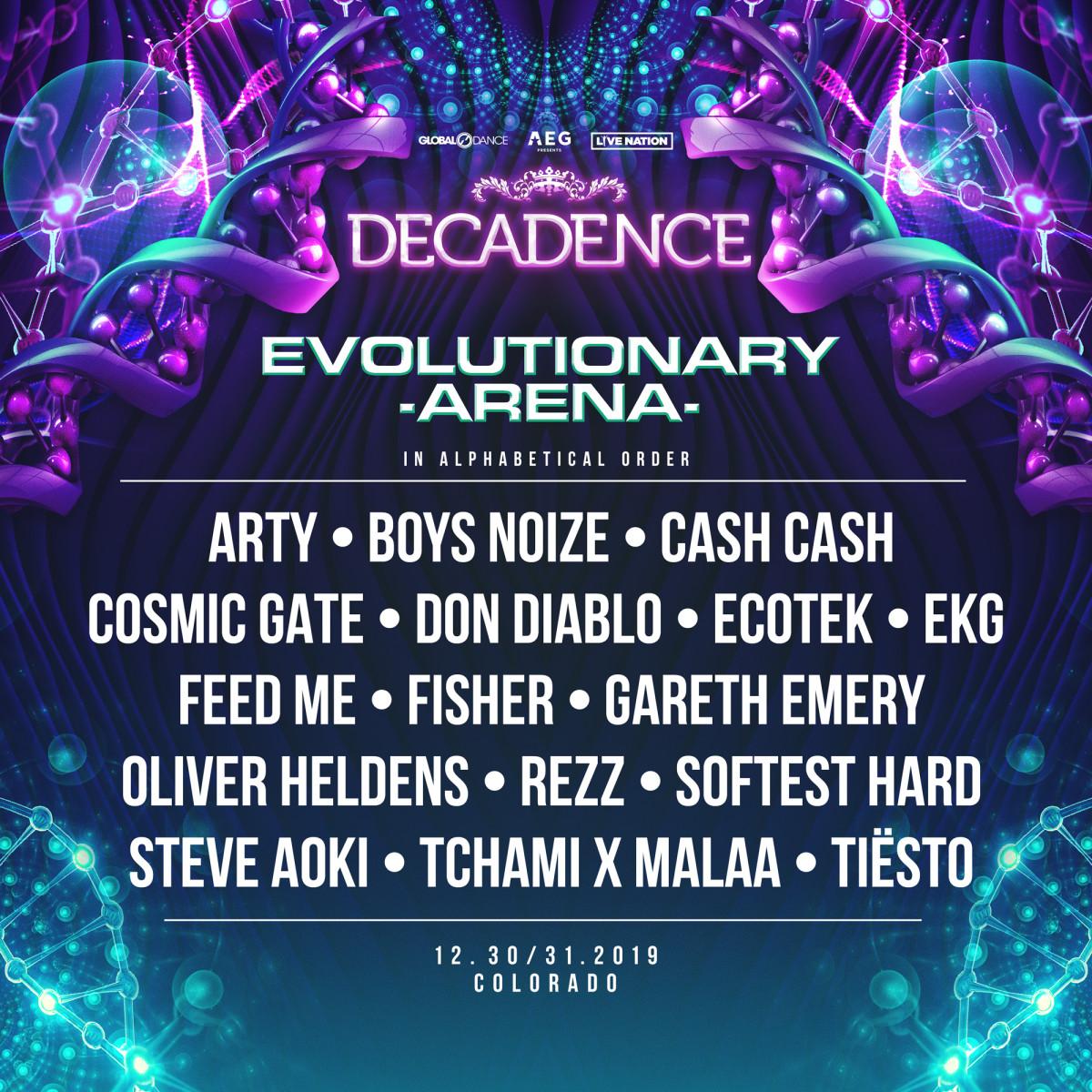Decadence NYE 2019 Colorado Lineup Evolutionary Arena