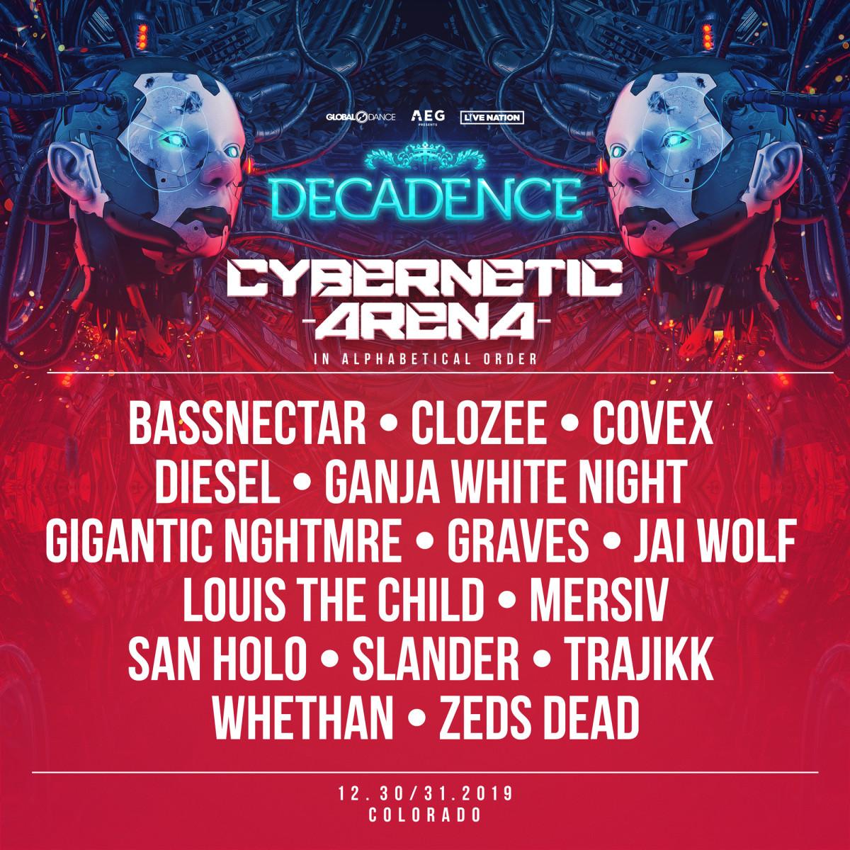 Decadence NYE 2019 Colorado Lineup Cybernetic Arena