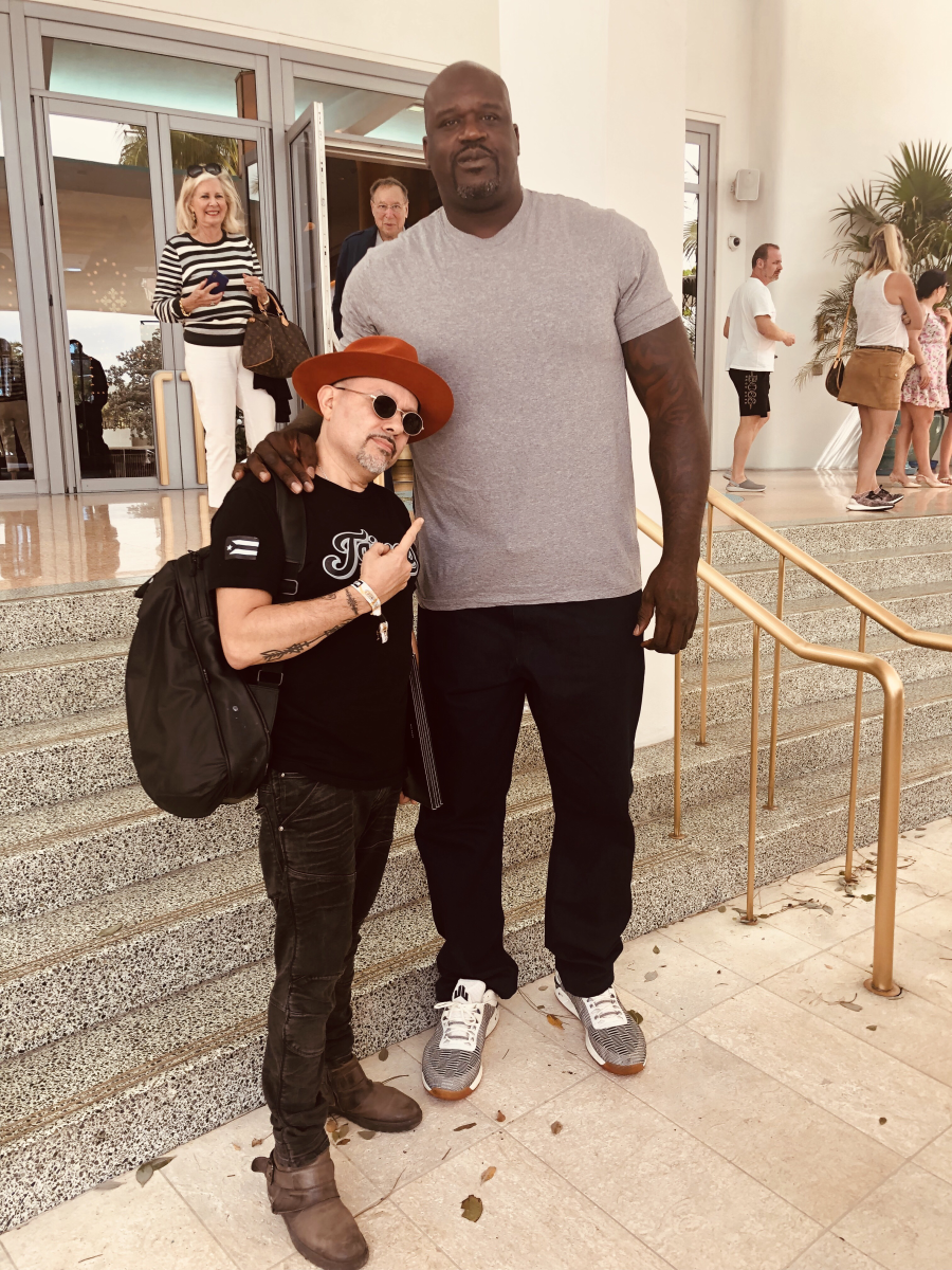 Louie Vega with Shaq in front of the Faena Hotel