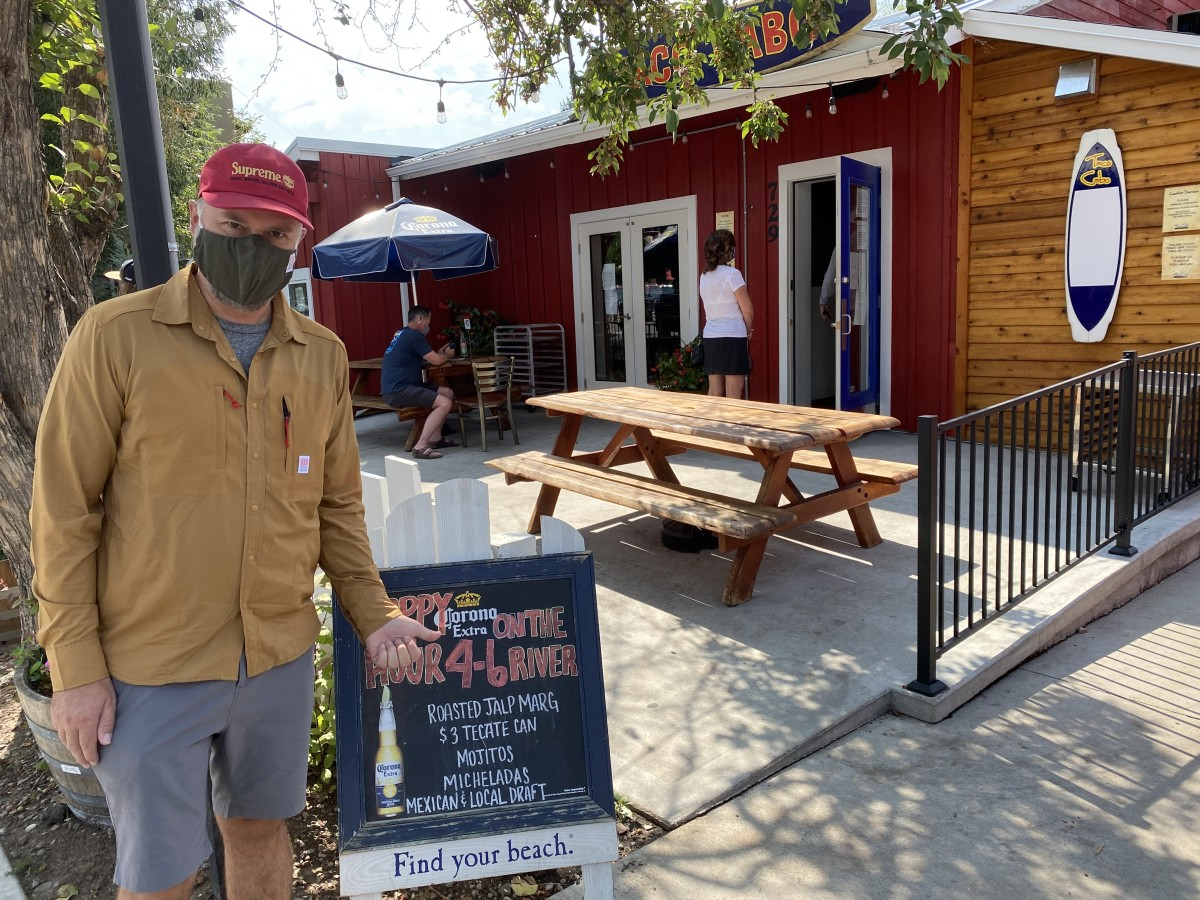 Topo Mask and Tech Shirt at Cabo Taco, one of our go to spots in Steamboat.