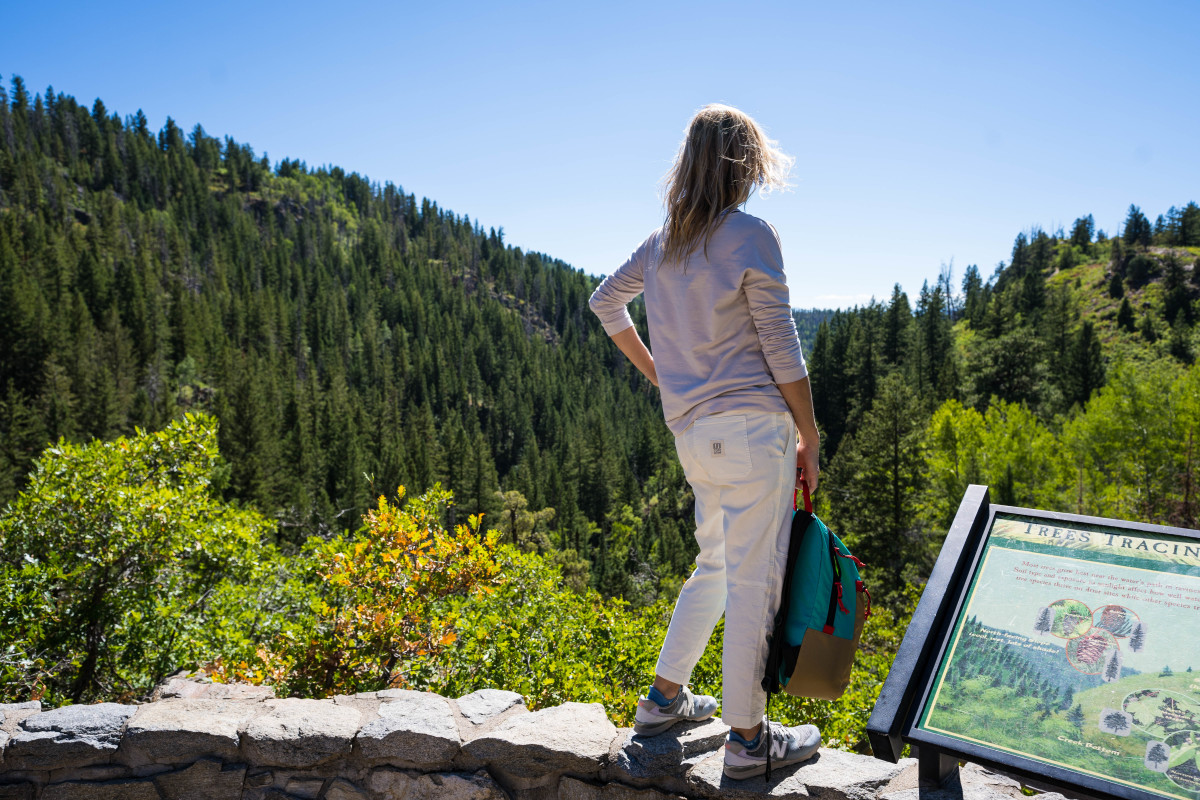 Women's Dirt Pants and Topo x Madewell Backpack @Fish Creek Falls